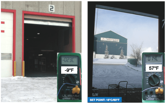 Temperature difference results showing inside and outside temperatures after installing an Enershield Air Barrier.