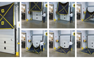 The Leveler Blanket conveniently stores up and out of the way when its not in use. When in use, Leveler Blanket is easily lowered and positioned over the dock leveler.