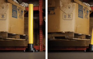 Rebounding bollard in its standard and angled position on impact