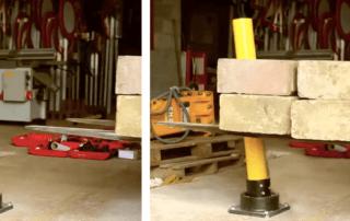 Rebounding bollard absorbing impact from a forklift