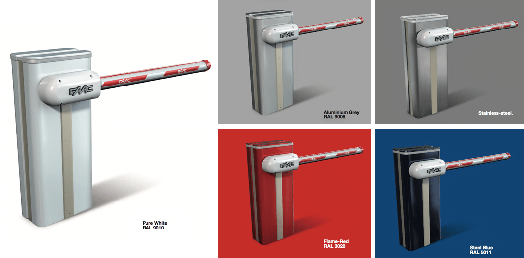 Colour choices available for the fAAC swing arm barrier gate