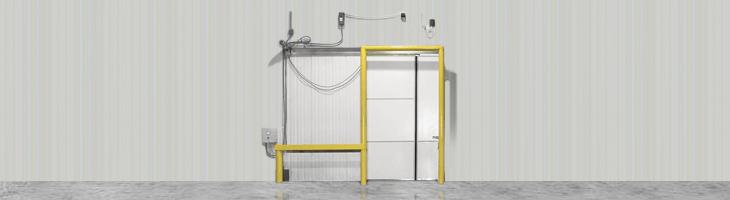 Bi-part sliding door and single sliding door options for cold storage facilities