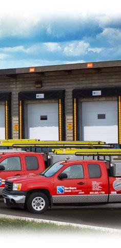 NDS trucks in front of a dock door