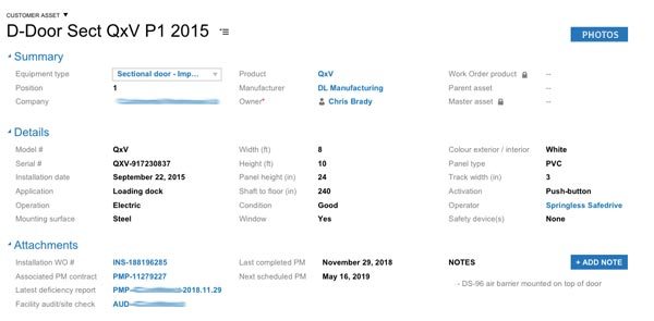 Data input for sectional QxV door