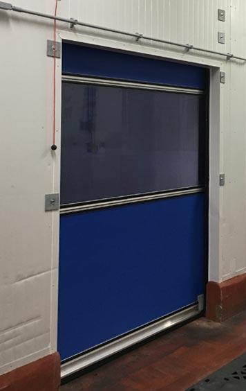 Egg Solutions High-Speed Fabric Roll-Up Freezer Door Side
