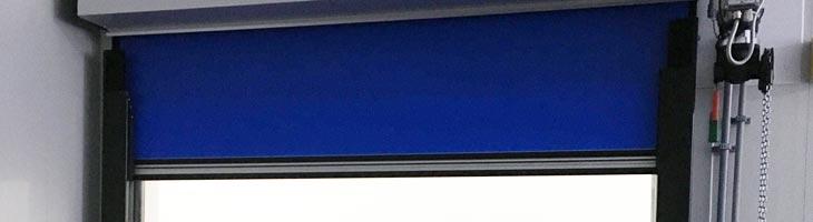 Egg Solutions Header High-Speed Fabric Roll-Up Freezer Door