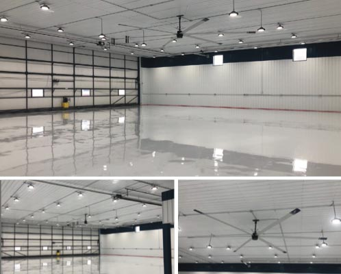 Empty High River Airport Hangar with HVLS Fan Feat