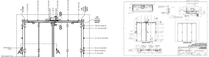 Industrial Manufacturer Four-Fold Door Diagrams
