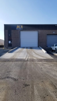KMJ Overhead Sectional Steel Door and Ramp in Brampton Ontario from centre