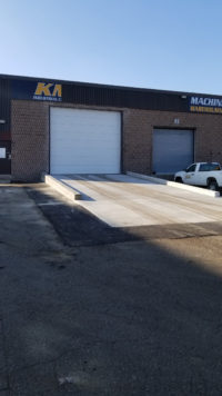 KMJ Overhead Sectional Steel Door and Ramp in Brampton Ontario from left