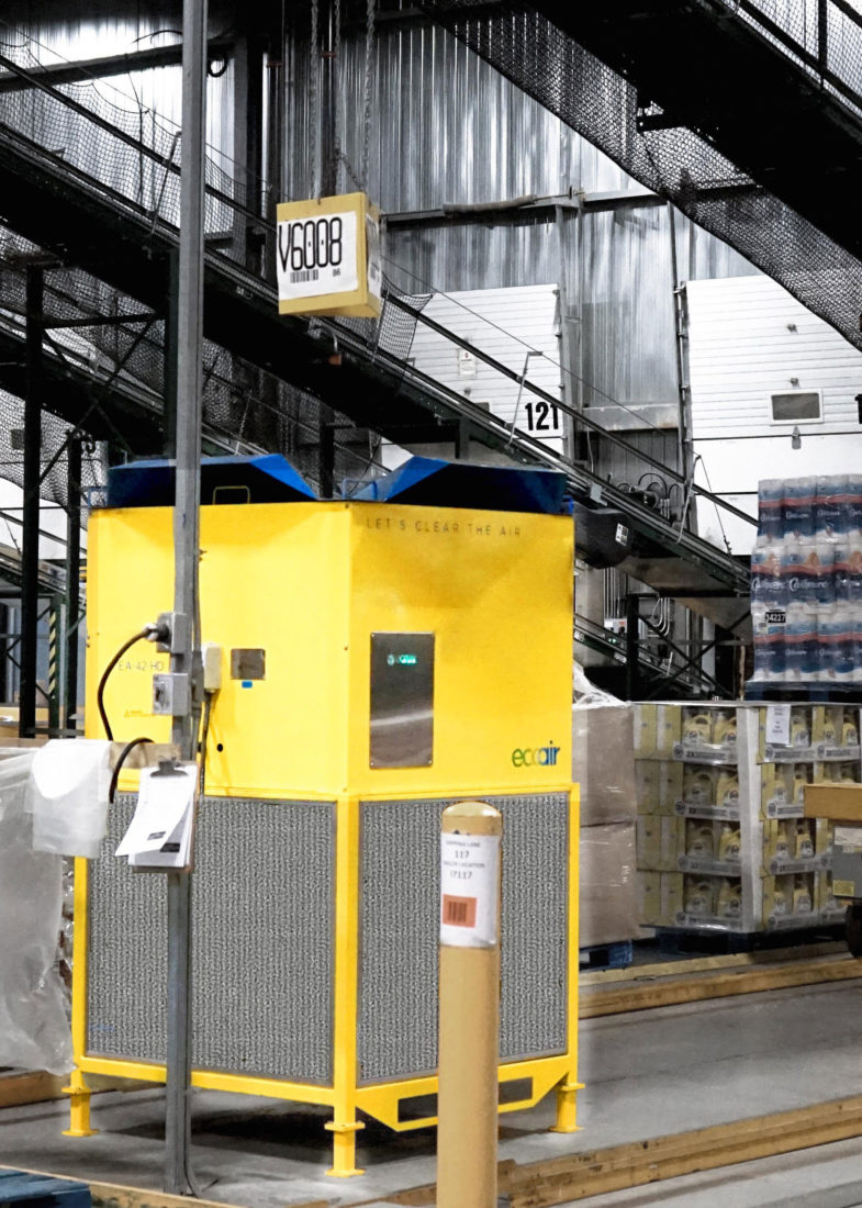 EcoAir in warehouse facility with summer hood in portrait