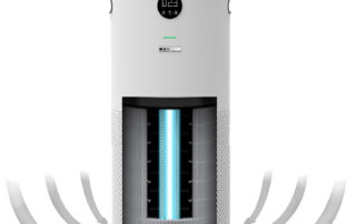 JADE intakes air from bottom, purifies it through 5 stage systems before pushing clean air out top