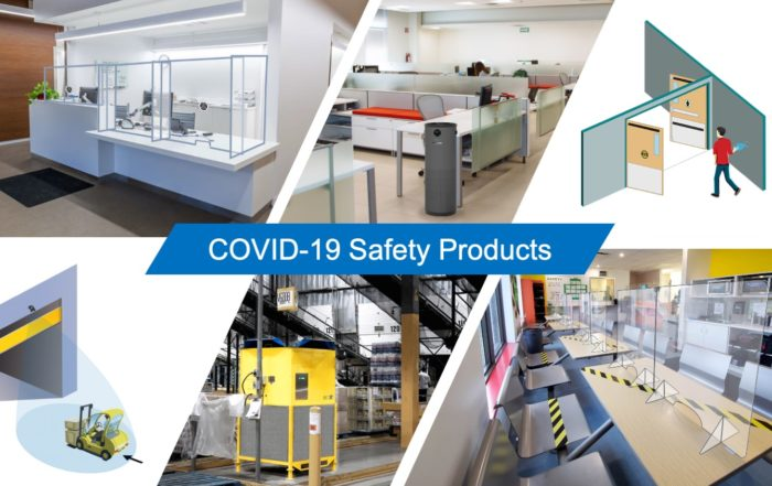 COVID-19 Safety Products, plexiglass safety shields for reception, JADE UV air purifier in office, touchless entry, hand wave sensor, automatic industrial doors, EcoAir air filtration in warehouse, plexiglass safety shields in lunchroom