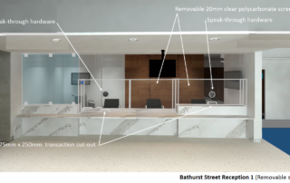 Reception with removable plexiglass safety screens and speak-through hardware - after