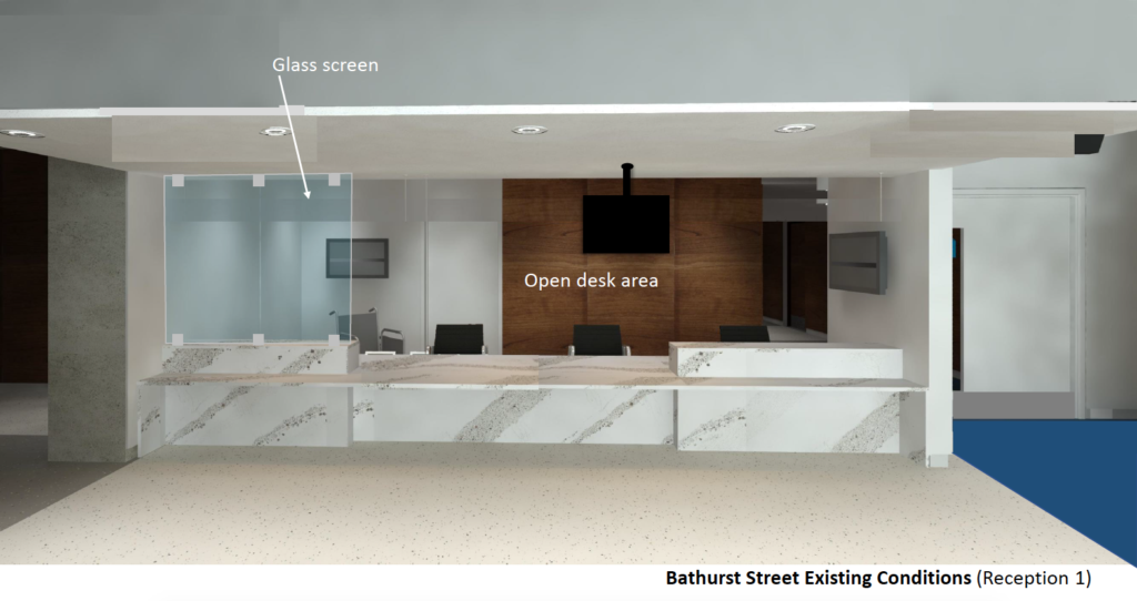 Reception with removable plexiglass safety screens and speak-through hardware - before