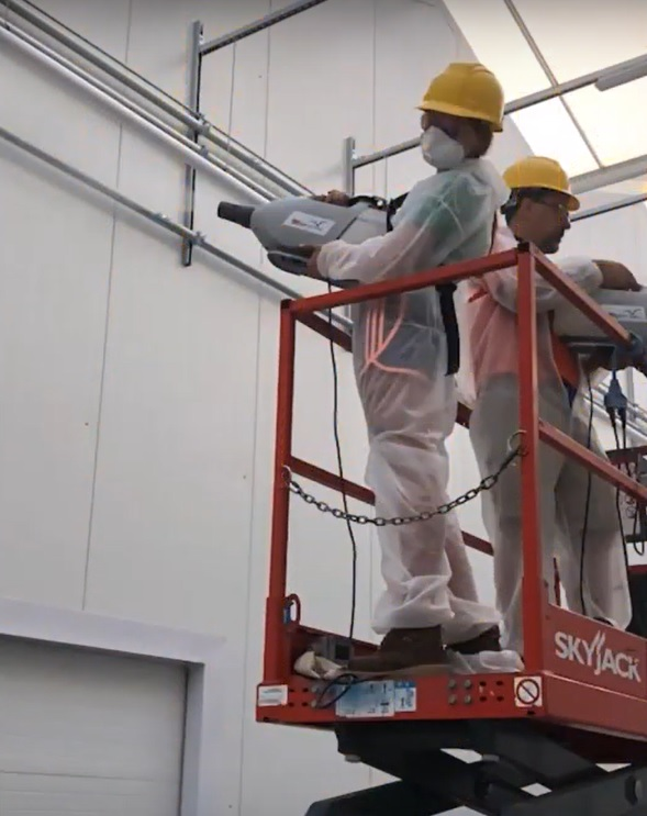 Spraying large spaces with disinfectant Cold ULV Fogger