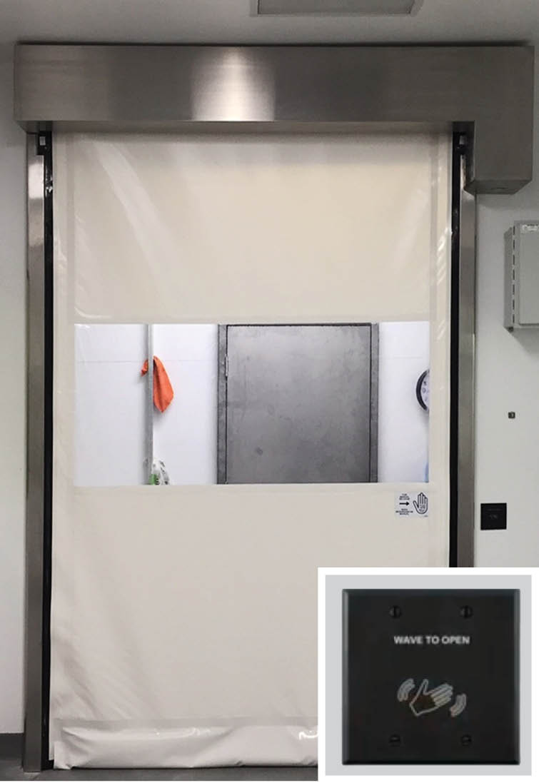 pharmaceutical fabric roll up door with wave sensor