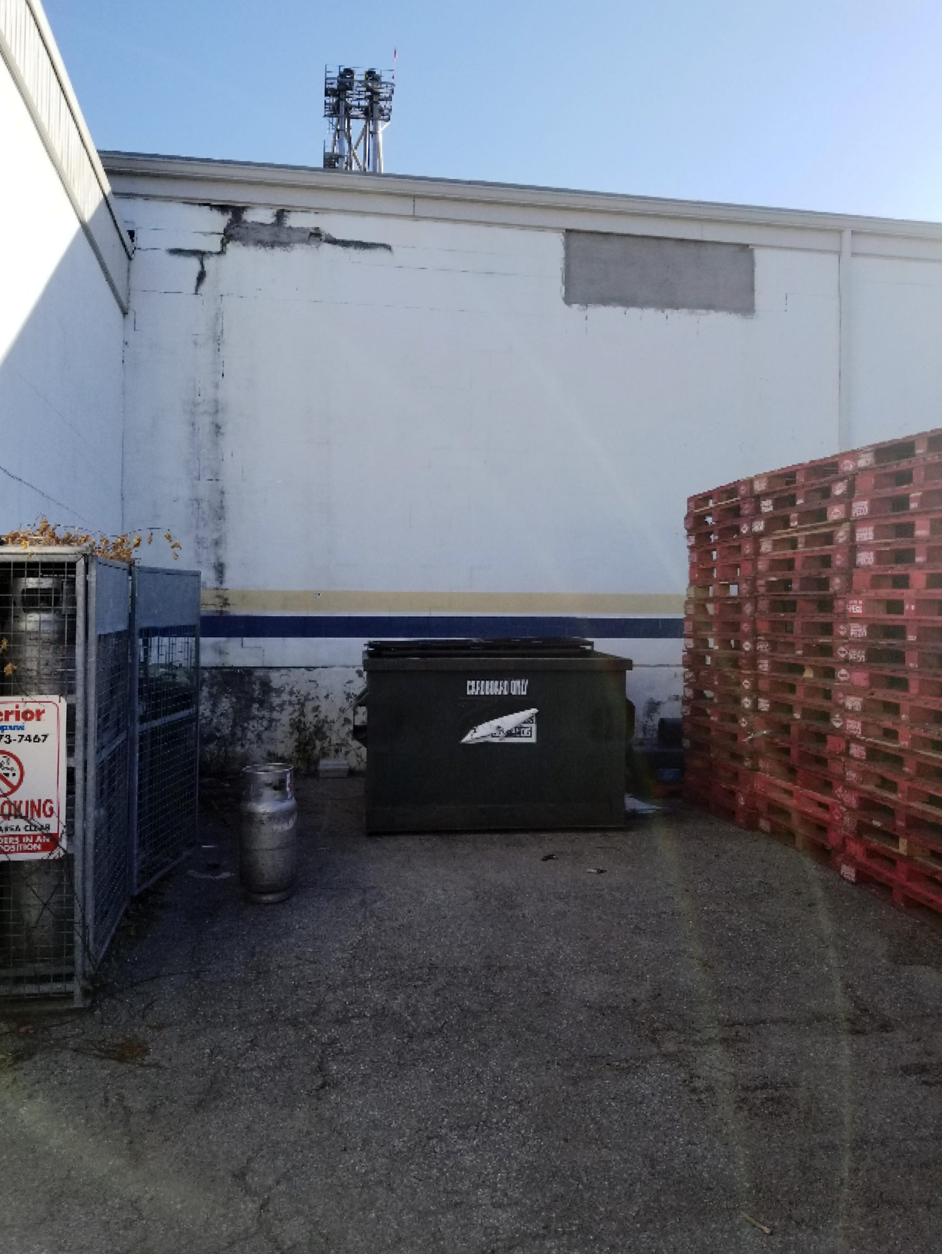 Blank wall for new loading dock position