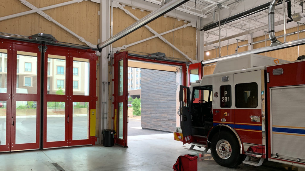 Oakville Fire Station 8 – Four-Fold Door and Safe-Drive Springlesss Overhead Door System