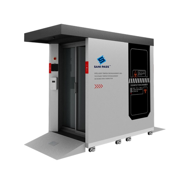 Full-body disinfectant booth with a larger bay for medium to heavy traffic