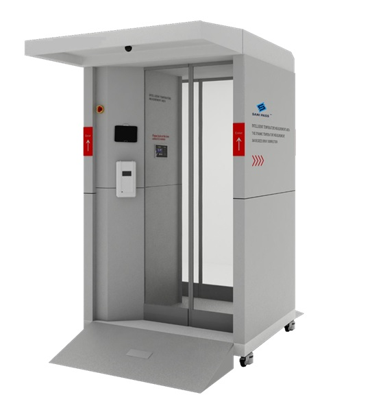 Full-body disinfectant booth for small to medium traffic