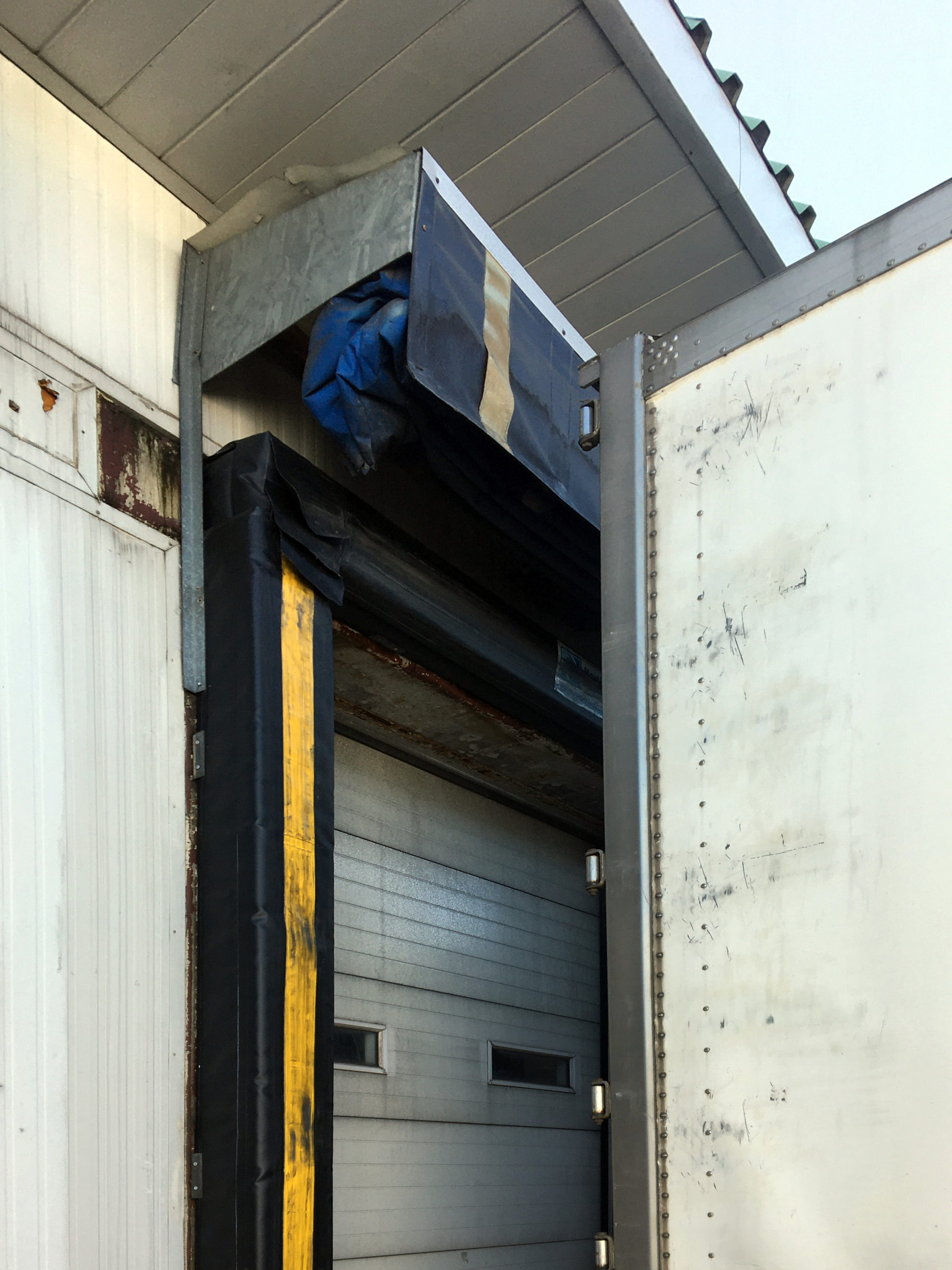 Dock seal with truck backing in with canopy