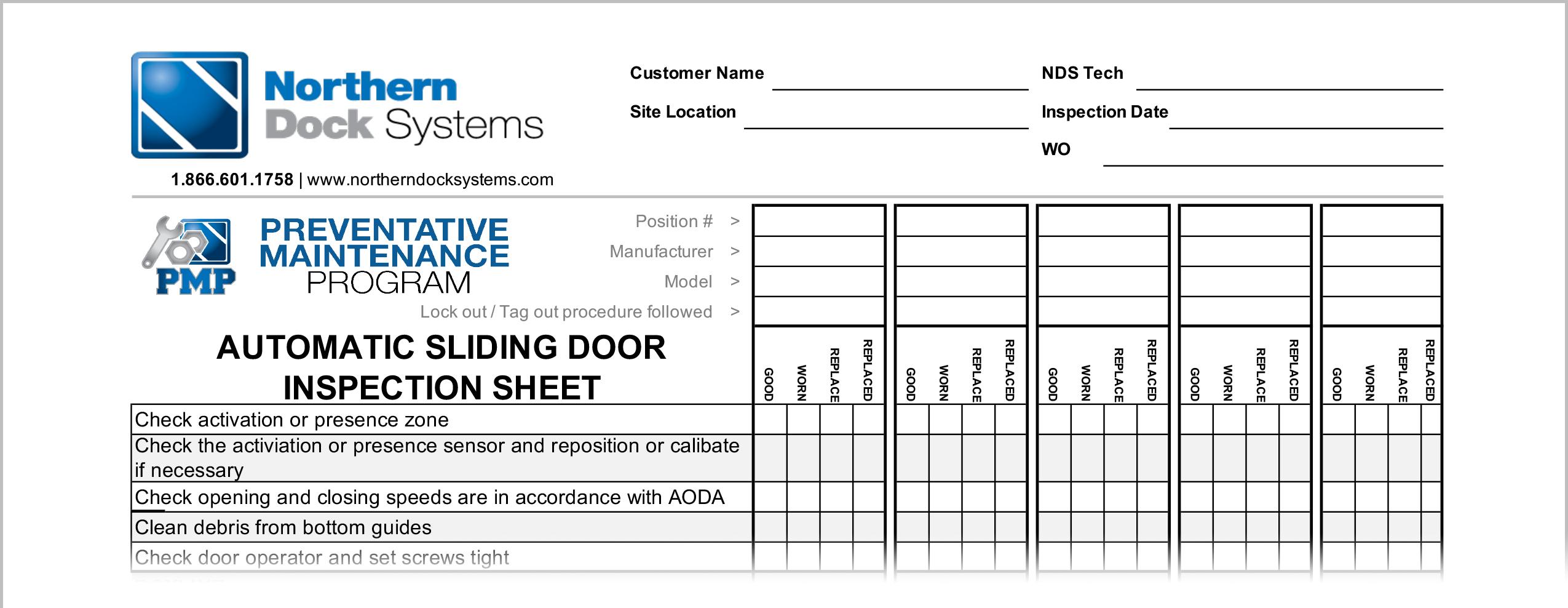 automatic sliding door inspection sheet checklist